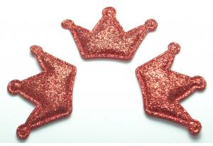 Патч Корона (глиттер), 3х4.5 см, красный