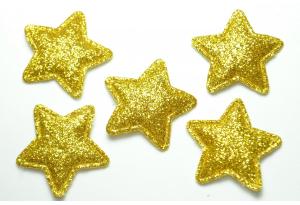 Патч, звездочка (глиттер) 3.5 см, золотая