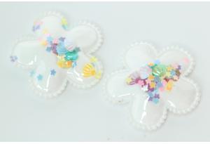 Патч Цветок с пайетками силиконовый, 4.5 см, белый