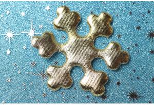 Патч новогодний, 8 см, снежинка большая, золото