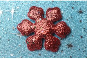 Патч новогодний, 7.8 см, снежинка большая, красная