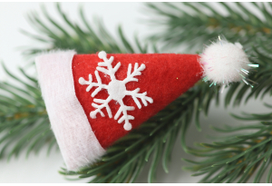 Декор новогодний, 7,5x4 см, шапка Санты