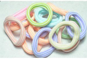 Резинка для волос Калуш (велюрчик) 4 см, (пастельные тона / полоса)  цветной микс