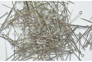 Портновские булавки металлические с петелькой 3 см, серебро
