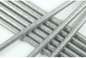 Термоклей 7 мм, с глиттером серебряный, длина 20 см