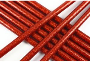 Термоклей 7 мм, с глиттером красный, длина 20 см