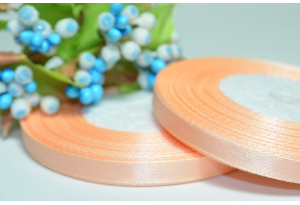 Атласная лента 0.6 см, персиковая