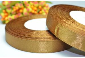Атласная лента 1.2 см, коричневая