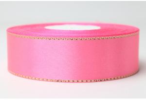 Атласная лента 2.5 см, с люрексом (золото), ярко-розовая