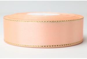 Атласная лента 2.5 см, с люрексом (золото), персиковая
