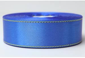 Атласная лента 2.5 см, с люрексом (золото), синяя