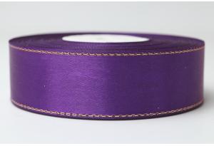 Атласная лента 2.5 см, с люрексом (золото), фиолетовая