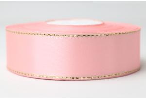 Атласная лента 2.5 см, с люрексом (золото), розовая