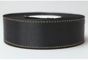 Атласная лента 2.5 см, с люрексом (золото), черная