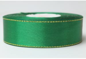 Атласная лента 2.5 см, с люрексом (золото), зеленая