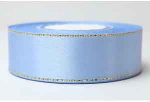 Атласная лента 2.5 см, с люрексом (золото), голубая
