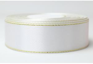 Атласная лента 2.5 см, с люрексом (золото), белая