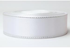 Атласная лента 2.5 см, с люрексом (cеребро), белая