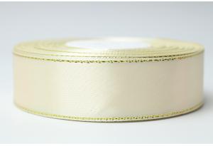 Атласная лента 2.5 см, с люрексом (золото), кремовая