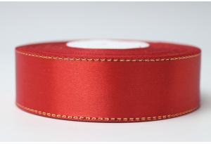 Атласная лента 2.5 см, с люрексом (золото), красная