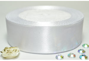 Атласная лента 2.5 см, однотонная, белая