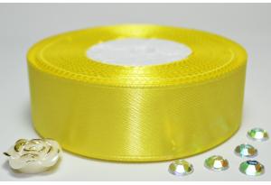 Атласная лента 2.5 см, однотонная, желтая