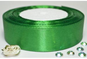 Атласная лента 2.5 см, однотонная, зеленая