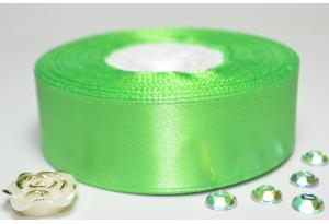Атласная лента 2.5 см, однотонная, ярко-зеленая