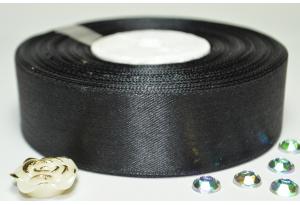 Атласная лента 2.5 см, однотонная, черная