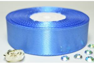 Атласная лента 2.5 см, однотонная, светло-синяя