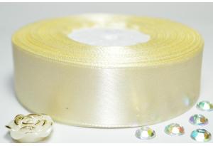 Атласная лента 2.5 см, однотонная, кремовая