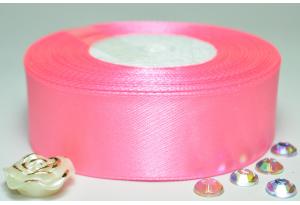 Атласная лента 2.5 см, однотонная, темно-розовая
