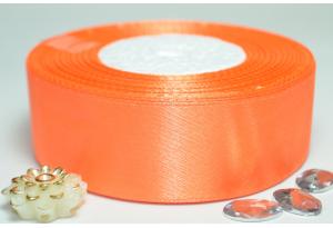 Атласная лента 2.5 см, однотонная, морковная