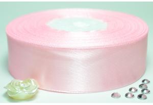 Атласная лента 2.5 см, однотонная, светло-розовая