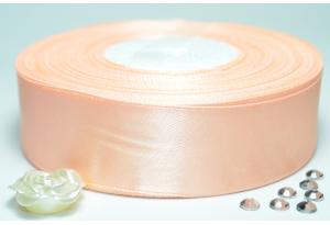 Атласная лента 2.5 см, однотонная, персиковая
