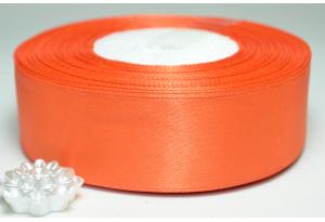 Атласная лента 2.5 см, однотонная, темно-оранжевая, 144