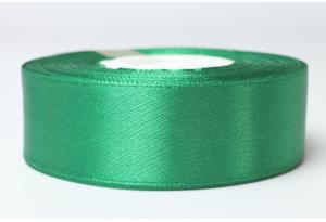 Атласная лента 2.5 см, однотонная, темно-зеленая