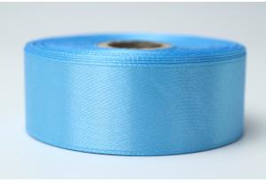 Атласная лента 2.5 см, однотонная, темно-голубая