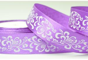 Атласная лента 2.5 см, с рисунком Орнамент, фиолетовая