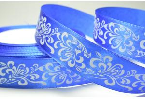 Атласная лента 2.5 см, орнамент, синяя