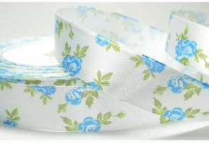 Атласная лента 2.5 см, розочка, бело-голубая