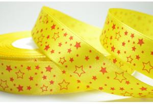 Атласная лента 2.5 см, с рисунком Звездочка, желтая