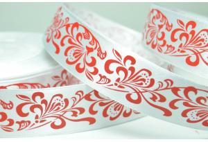 Атласная лента 2.5 см, орнамент, бело-красная