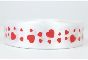 Атласная лента 2.5 см, с рисунком Сердечки, белая