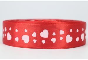 Атласная лента 2.5 см, с рисунком Сердечки, красная