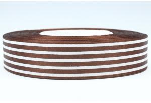 Атласная лента 2.5 см, с рисунком Полоска, шоколадная