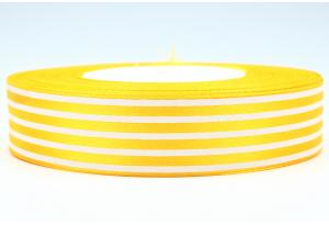 Атласная лента 2.5 см, с рисунком Полоска, желтая
