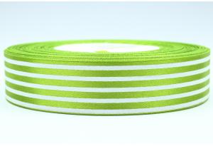 Атласная лента 2.5 см, с рисунком Полоска, ярко-зеленая