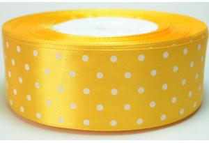 Атласная лента 4 см, в горох, темно-желтая