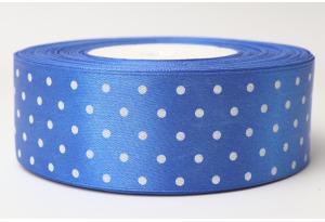 Атласная лента 4 см, в горох, синяя